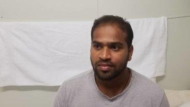 """""""Six years wasted"""" ...  Manus Island detainee Shaminda Kanapathi on Friday."""