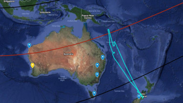 A map outlining the plan for Wednesday's observation: the yellow marker is the location of the UWA Zadko telescope;the other blue markers are other collaborators who will supportobservations from the ground. The red line is thecenter line ofTitan's shadow, the two black lines are thenorthernand southern limb of Titan, which has a diameter of about 5200km. The light blue line is the preliminary flight pathof SOFIA out of Christchurch, as it flies to make its observation on the legthat intercepts the red line.