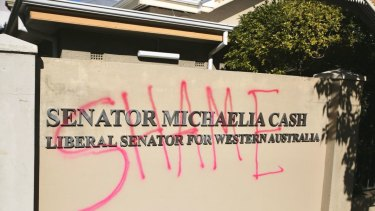 The word 'shame' was spray-painted on the walls of Michaelia Cash's Perth office.