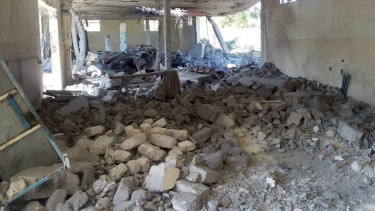 The damage inside the detention centre in Tripoli's Tajoura after the air strike.