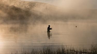 Fly fishing, Lake Leake.
