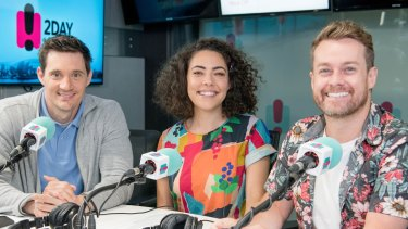 Axed: 2DayFM breakfast's outgoing hosts Ed Kavalee, Ash London and Grant Denyer.