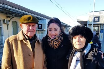 Camille Ruiz (centre) in Lunel, France, at Christmas 2017 with her grandfather, Auguste, and grandmother, Christiane.