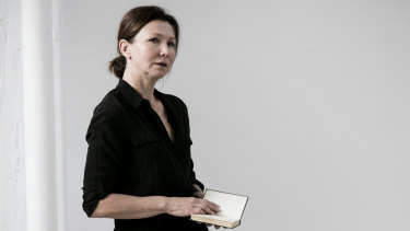 Actress Anita Hegh in rehearsal for A Room of One's Own at Belvoir.