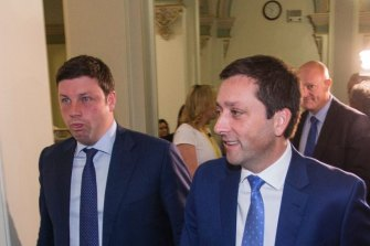 Matthew Guy and Liberal MP Tim Smith after Michael O'Brien was elected as party leader in 2018.