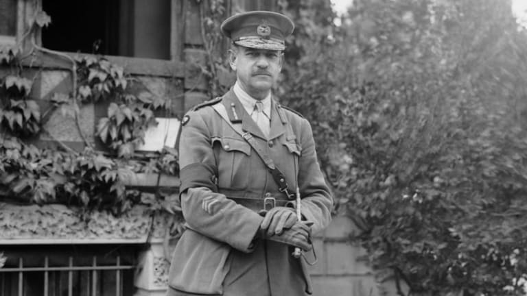 Sir John Monash at his headquarters in Villers-Bretonneux soon after being appointed Lieutenant-General.
