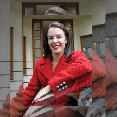 Melissa Caddick in her trademark red.
