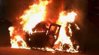 The wrong Suzuki Swift burns in South Yarra.