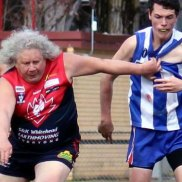 Peter Shaw, 61, is playing in the senior side for Corryong this season.