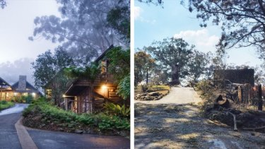 Queensland's treasured Binna Burra Lodge before and after a bushfire gutted the rainforest retreat in September 2019.