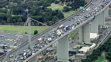 Outbound traffic on the West Gate Bridge on Friday night.