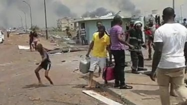 Large explosions have hit a military base  in Bata, Equatorial Guinea.