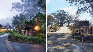 Queensland's treasured Binna Burra Lodge before and after a bushfire gutted the rainforest retreat in September.