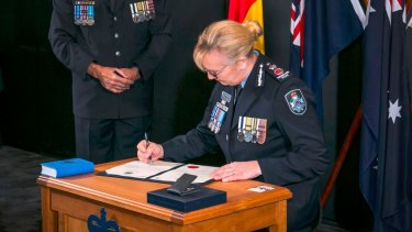 New Queensland Police Commissioner Katarina Carroll was sworn in on Monday.