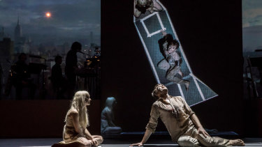 Michael C Hall (Newton) and Sophia Anne Caruso (Girl) in the New York production of David Bowie's stage musical, Lazarus.