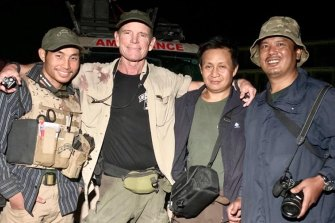 Zau Seng from Burma (far right), of the NGO Free Burma Rangers, pictured last week after the group rescued wounded north of Tel Tamr, Syria. Dave Eubank is second from left.