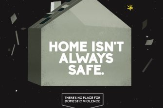 "Material from the government's ""Help is here"" domestic violence awareness campaign."