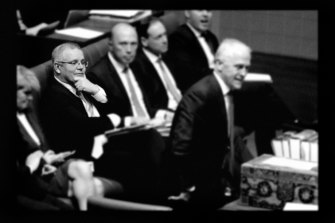 Scott Morrison, Peter Dutton, Greg Hunt and Josh Frydenberg listen as Malcolm Turnbull speaks during question time.
