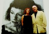 John Beard and artist Janet Laurence with his 2007 Archibald Prize winner.