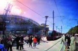 An artist's impression of a light-rail line through Sydney Olympic Park.