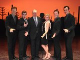 Musically minded: Keating and girlfriend Julieanne Newbould with the <i>Jersey Boys</i> cast in 2010.