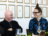 Art to art ... Del Kathryn Barton and John Beard share a moment over lunch.
