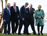 On the world stage: Bishop with, from left, US Secretary of Defence Chuck Hagel, Australian Defence Minister David Johnston, US Secretary of State John Kerry and Governor-General Peter Cosgrove in Sydney in August.
