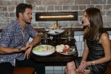 Getting a bite to eat: Ryan Kwanten with Kate Waterhouse at The Morrison in Sydney.