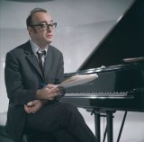 Austrian pianist Alfred Brendel at the piano, circa 1970.