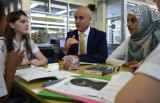 NSW Education Minister Adrian Piccoli speaks to students at Randwick Girls High School.