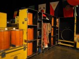 Everything is packed into containers backstage at Quidam's Bangkok show.