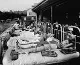 School lessons for boys with polio were held on the sundeck at Frankston Children's Hospital in 1936.