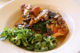 The chicken fricassee Muldoon ordered, 'not only because it's fun to say'.