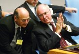 Art of politics: Sinodinos with John Howard at the UN in 2002.