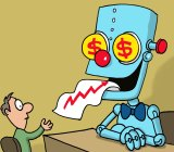 Robots can beat humans for simple financial advice. Illustration: John Shakespeare