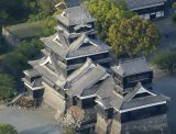 Kumamoto Castle stands damaged after a magnitude-6.5 earthquake in Kumamoto city, southern Japan.