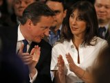Keynote speech: Britain's Prime Minister David Cameron with wife Samantha.