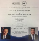 The flyer for the fundraiser featuring the former prime minister.