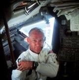 Buzz Aldrin inside Apollo 11.