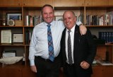 National pride: John Williams (at right) with his friend Barnaby Joyce, the Minister for Agriculture, at Parliament House earlier this year.