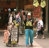 Fire and brimstone: Street preacher Desmond Hynes on a Melbourne CBD street in 1996.