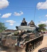A Kenya Defence Forces tank arrives at Garissa University College.