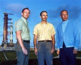 From left, Neil Armstrong, Michael Collins and Buzz Aldrin at Kennedy Space Center, in front of the Saturn V rocket that would take them to the moon.