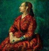 Study for 'Helena Rubinstein' (1960), by William Dobell, oil on board 10.7 x 10.2 cm. Gift of Eva Besen AO and Marc Besen AO.