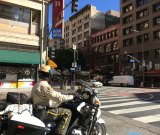 A sheriff patrols the streets of downtown Los Angeles.