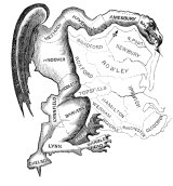 1812 cartoon depicts the senate election map of the Massachusetts state election drawn in favour of the Democratic-Republican Party candidates of Governor Elbridge Gerry over the Federalists. The governor's name and the salamander shape of the district gave rise to the term gerrymandering.