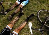 Done in: Cyclocross riders chill out.