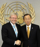UN Secretary General Ban Ki-Moon with Kevin Rudd.