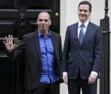 Dressing to impress: Greek Finance Minister Yanis Varoufakis in London with Britain's Chancellor of the Exchequer, George Osborne.