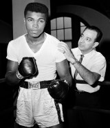 Muhammad Al with his trainer Angelo Dundee at City Parks Gym in New York in 1962.